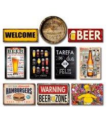 kit placas decorativas bebidas mdf - 10 placas