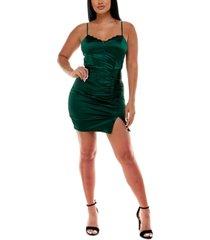 emerald sundae juniors' lace-trim ruched satin dress