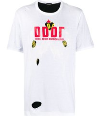 diesel destroyed double-layer t-shirt - white
