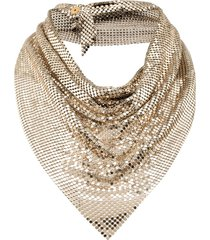 paco rabanne draped mesh necklace - gold