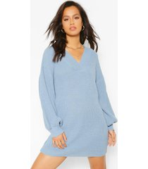 balloon sleeve v neck knitted dress, dusty blue