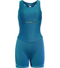 women's nike race dri-fit one-piece, size x-large - blue/green
