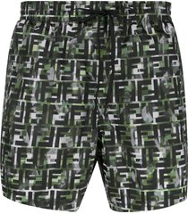 fendi camouflage ff print swim shorts - green