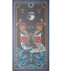 burberry mermaid-print silk-chiffon scarf - blue