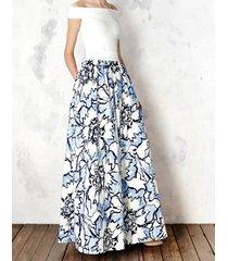 spódnica maxi w błękitne kwiaty