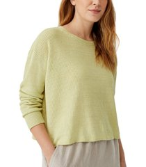 eileen fisher organic linen ribbed sweater