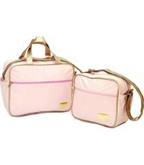 kit 2 peças bolsa e frasqueira mamãe bebe moderna prática baby nut rosa