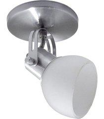 spot em alumínio lixado branco com vidro fosco para 1 lâmpada