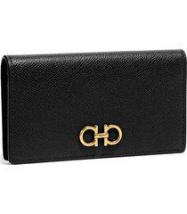 women's salvatore ferragamo gancini leather continental wallet - black