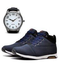 sapatênis urbano com relógio new dubuy 1101db azul