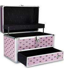 maleta de maquiagem rubys estampada alumínio reforçada violeta e rosa