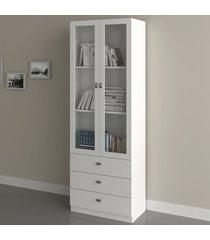 armário para escritório 2 portas 3 gavetas branco  me4114 - tecno mobili