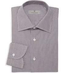 mini check print dress shirt