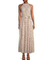 stellah women's halterneck tiered maxi dress - animal print - size s
