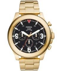 fossil men's latitude gold-tone bracelet watch 50mm