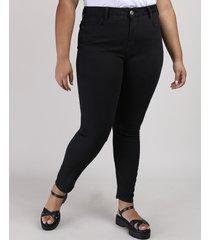 calça jeans feminina plus size super skinny cintura alta preta