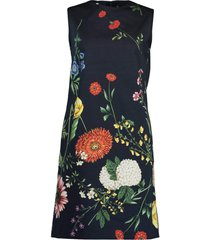 tossed botanical print sleeveless shift dress
