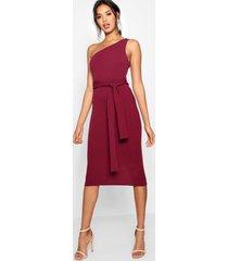 one shoulder belted midi dress, berry