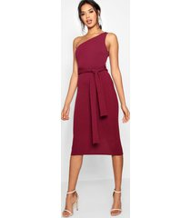 one shoulder belted midi dress, berry