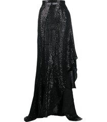 ami paris sequin-embellished ruffled skirt - black