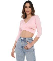 blusa corta manga larga cruzada rosa mítica