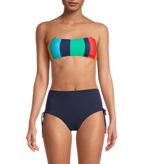 sperry women's striped bandeau lace-up bikini top - size l
