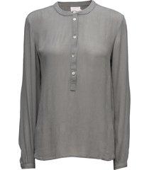 karla amber shirt ls- min 2 blus långärmad grå kaffe