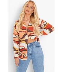 blouse met abstracte opdruk, rust