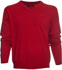 sweater cuello v algodón rojo mcgregor