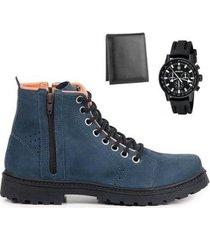 coturno masculino couro leve + carteira + relógio analógico - masculino