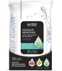 lenço demaquilante kiss new york makeup remover tissue aloe 36 unidades