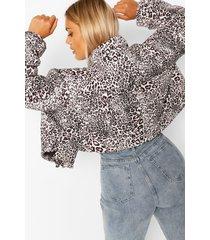 plus korte gewatteerde luipaardprint jas, bruin