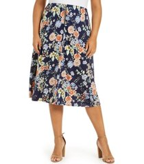 ny collection plus size printed zip-front skirt