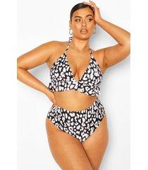 plus luipaardprint bikini met ruches en hoge taille, black