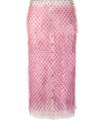 paco rabanne paillette midi pencil skirt - pink