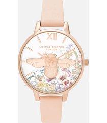 olivia burton women's enchanted garden 3d bee watch - nude peach/rose gold