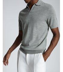 reiss duchie - merino wool open collar polo shirt in sage, mens, size xxl