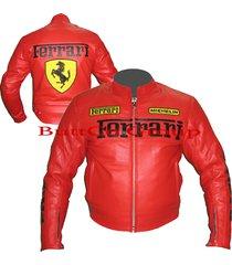 ferrari 0121 red genuine leather motorcycle motorbike biker jacket