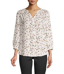 print high-low pintucked blouse