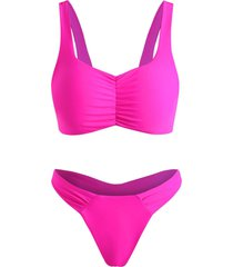 ruched high cut thong tank bikini swimwear