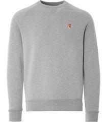 maison kitsune fox head patch sweatshirt | grey melange | 303km001-gry