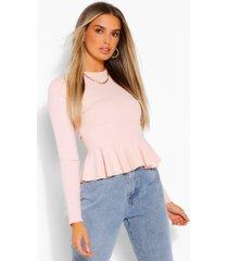 long sleeve peplum blouse, blush