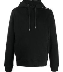 paco rabanne logo shoulder hoodie - black