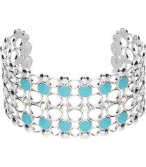 bracciale rigido fascia larga in ottone rodiato con cristalli e smalto azzurro per donna