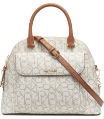 calvin klein signature chained dome leather satchel