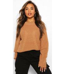 petite chunky oversized sweater, tan