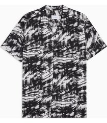 mens black and white tiger print revere shirt
