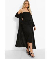 zwangerschap strapless midaxi jurk en duster jas, black