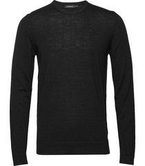 newman-perfect merino stickad tröja m. rund krage svart j. lindeberg