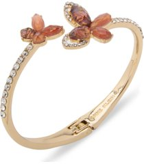 anne klein gold-tone crystal & stone butterfly bypass bangle bracelet